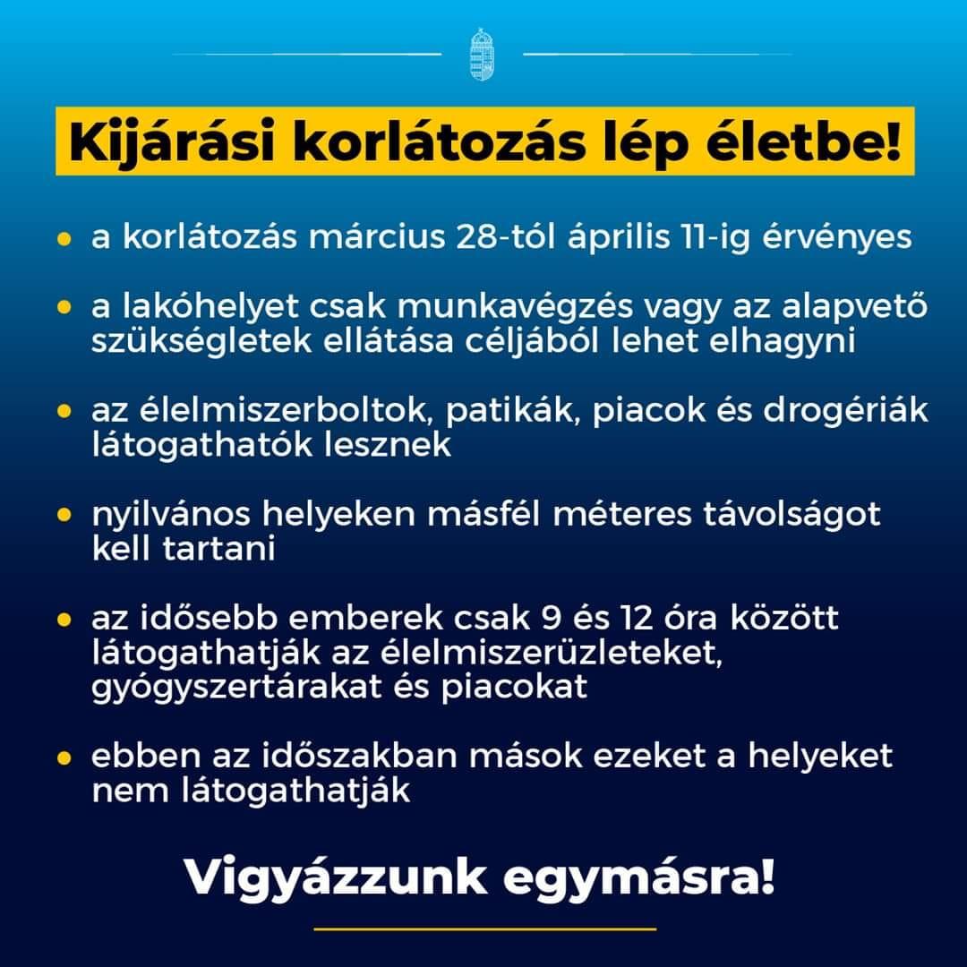 KIJÁRÁSI KORLÁTOZÁS LÉPETT ÉLETBE!